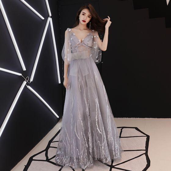 Elegant Grey Evening Dresses  2019 A-Line / Princess V-Neck Bow Lace Flower 1/2 Sleeves Backless Floor-Length / Long Formal Dresses