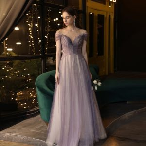Elegantes Uva Vestidos de noche 2020 A-Line / Princess Transparentes Scoop Escote Manga Corta Rebordear Glitter Tul Colas De Barrido Ruffle Sin Espalda Vestidos Formales