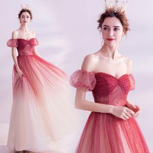 Charming Burgundy Gradient-Color Glitter Prom Dresses 2020 A-Line / Princess Off-The-Shoulder Crystal Sequins Short Sleeve Backless Floor-Length / Long Formal Dresses