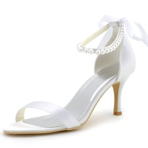 Grade Satin Beaded Straps Minimalist Shoes Foot Ring Decorated Wedding Shoes
