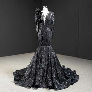 Luxury / Gorgeous Black Red Carpet Evening Dresses  2020 Trumpet / Mermaid See-through Deep V-Neck Long Sleeve Appliques Sequins Court Train Ruffle Formal Dresses