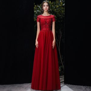 Chic / Beautiful Red See-through Evening Dresses  2020 A-Line / Princess Scoop Neck Short Sleeve Sequins Beading Floor-Length / Long Ruffle Formal Dresses
