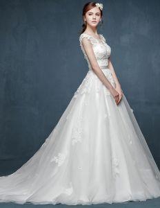 Transparent Spets Handgjorda Kronblad Lyxig Liten Avslutande Brudklänning Bröllopsklänningar