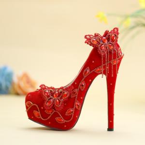 Chinesischer Stil Burgunderrot Brautschuhe 2019 Spitze Schmetterling Kristall Perlenstickerei Quaste 14 cm Stilettos Runde Zeh Hochzeit Pumps