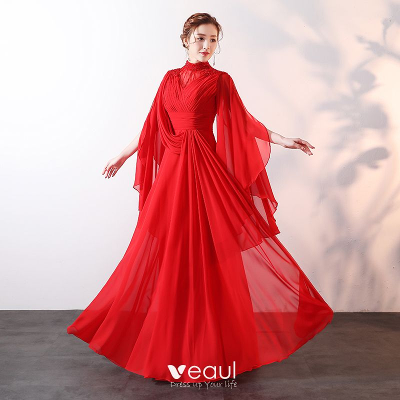 Modern Fashion Red Floor Length Long Evening Dresses 2018 A Line Princess High Neck Tulle Beading