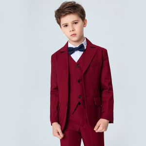 Modest / Simple Spotted Tie Burgundy Boys Wedding Suits 2020