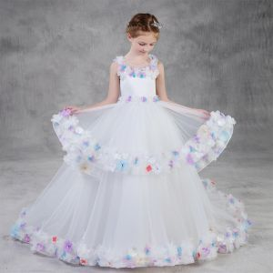 Flower Fairy White Flower Girl Dresses 2020 Ball Gown Scoop Neck Sleeveless Backless Appliques Flower Rhinestone Sweep Train Cascading Ruffles