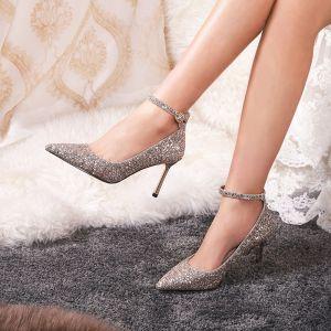 Scintillantes Doré Chaussure De Mariée 2019 Paillettes Bride Cheville 7 cm Talons Aiguilles À Bout Pointu Mariage Escarpins