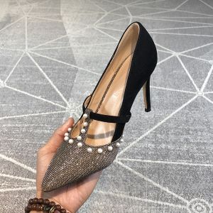 Fashion Black Evening Party Pumps 2020 Pearl Sequins 9 cm Stiletto Heels Pointed Toe Pumps