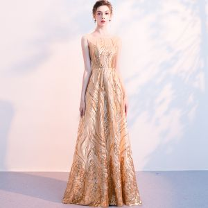Bling Bling Gold Sequins Evening Dresses  2018 A-Line / Princess Square Neckline Sleeveless Floor-Length / Long Ruffle Formal Dresses
