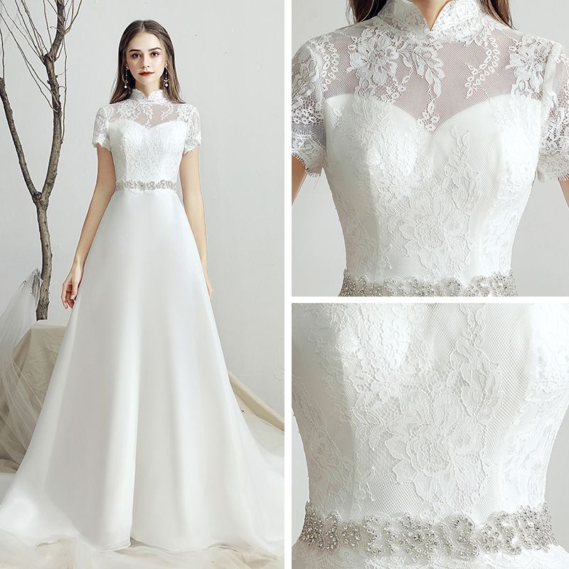 Classic White Chiffon Outdoor / Garden Wedding Dresses 2019 A-Line / Princess See-through High Neck Short Sleeve Backless Rhinestone Sash Sweep Train Ruffle