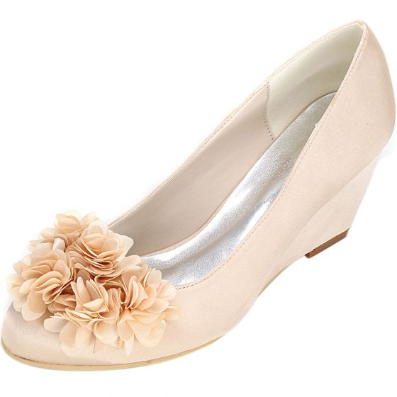Chic / Beautiful Champagne Prom Womens Shoes 2020 Satin Appliques 6 cm Wedges Pointed Toe