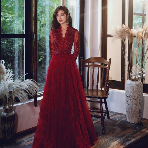 Elegant Burgundy Evening Dresses  2020 A-Line / Princess V-Neck Beading Sequins Lace Flower Long Sleeve Backless Floor-Length / Long Formal Dresses