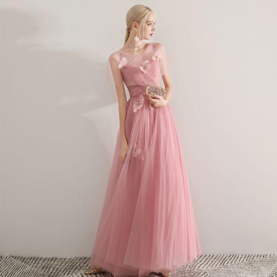 Romantisk Rosa Gennemsigtig Selskabskjoler 2019 Prinsesse Scoop Neck Kort Ærme Feather Beading Lange Flæse Halterneck Kjoler