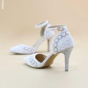 Chic / Beautiful White Wedding Shoes 2019 Pearl Ankle Strap Rhinestone 8 cm Stiletto Heels Pointed Toe Wedding High Heels