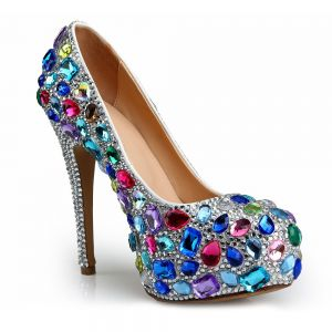 Chic / Beautiful Multi-Colors Evening Party Pumps 2020 Leather Rhinestone 14 cm Stiletto Heels Round Toe Pumps