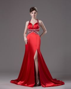 Sheath Halter Sweep/Brush Train Spaghetti Straps Satin Prom Dress