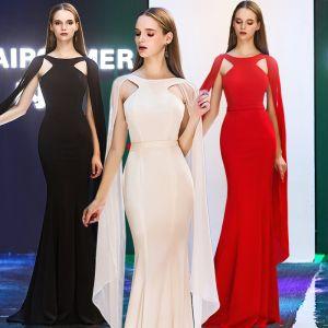 Mode Abendkleider 2019 Meerjungfrau Rundhalsausschnitt Unique Lange Ärmel Lange Rüschen Rückenfreies Festliche Kleider
