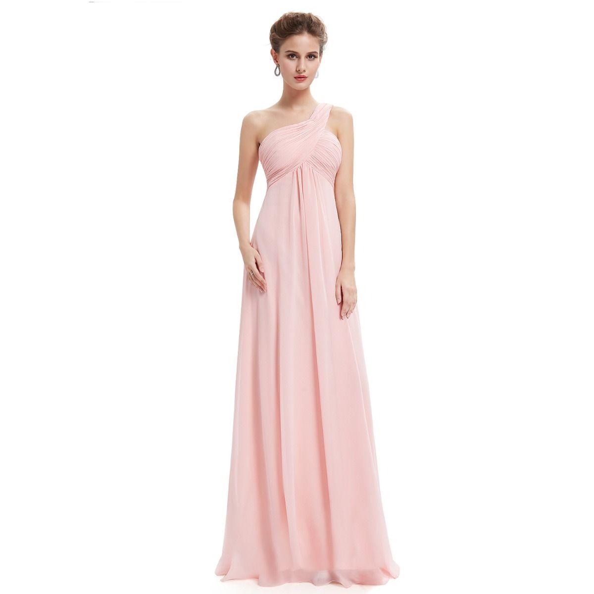 Proste / Simple Szyfon Sukienki Dla Druhen 2019 Imperium Jedno Ramię Bez Rękawów Długie Wzburzyć Bez Pleców Sukienki Na Wesele