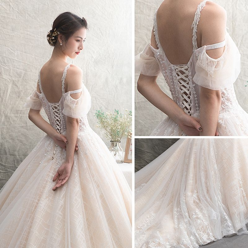 Illusion Champagne See-through Wedding Dresses 2019 A-Line / Princess Spaghetti Straps Short Sleeve Backless Appliques Lace Beading Cathedral Train Ruffle