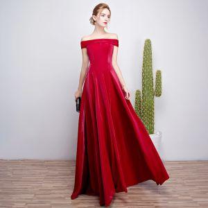 Modest / Simple Burgundy Evening Dresses  2018 A-Line / Princess Off-The-Shoulder Backless Sleeveless Floor-Length / Long Formal Dresses
