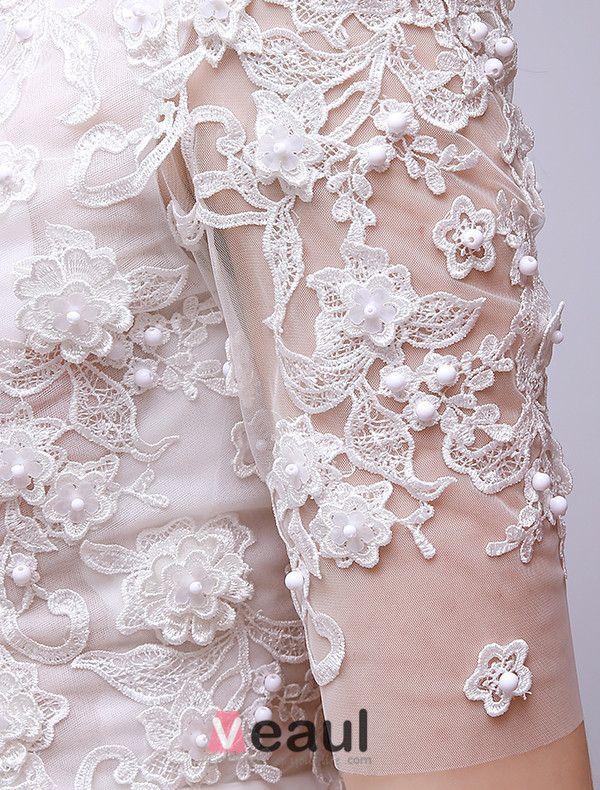 2015 A-ligne Encolure Carrée Perles Et Dentelles Été Courte Robe De Mariée Asymétrique