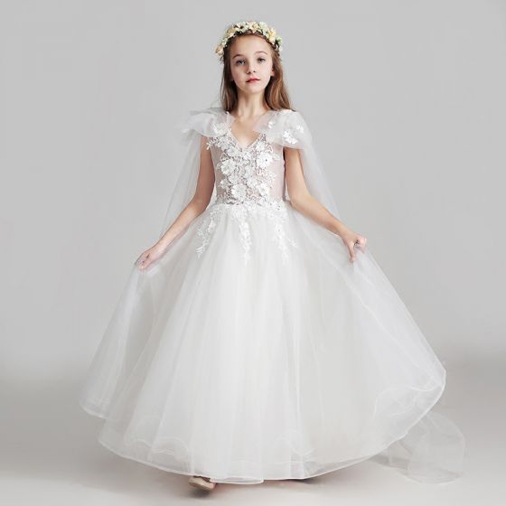 Chic / Beautiful White Flower Girl Dresses 2017 A-Line / Princess V-Neck Sleeveless Appliques Flower Beading Sequins Pearl Floor-Length / Long Ruffle Wedding Party Dresses
