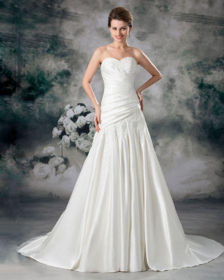 Satin Applikasjon Krusning Domstol Tog Kjaereste Ball Kjole Kvinner En Linje Brudekjoler Bryllupskjoler