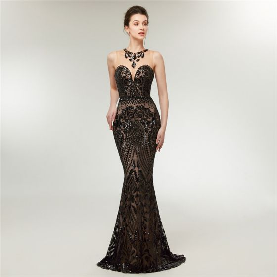 Sexy Black See-through Evening Dresses  2020 Trumpet / Mermaid Scoop Neck Sleeveless Sequins Sweep Train Backless Formal Dresses