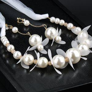 Eleganta Elfenben Pärla Hårsmycken Örhängen Brudsmycken 2020 Legering siden Blomma Snörning Pannband Brud Huvudbonad