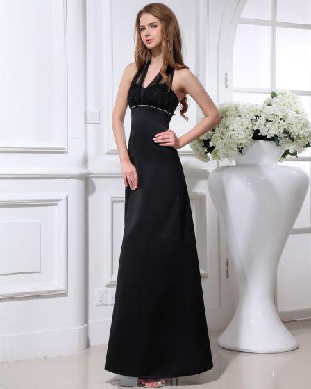 Elegante Satin Garn Perlen Halfter Knöchellang Frauen Abend Partykleid