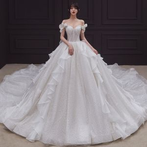 Romantic Champagne Bridal Wedding Dresses 2020 Ball Gown Off-The-Shoulder Bow Short Sleeve Backless Glitter Tulle Cathedral Train Ruffle