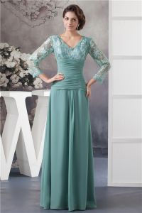 Elegant V Neck Lace Sleeves Pleated Long Dress Mother Of The Bride Dresses