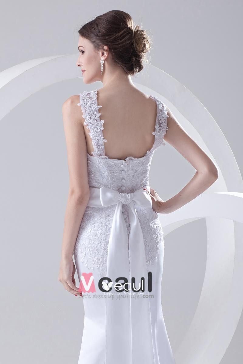 Shoulder Straps Sleeveless Single Breasted Applique Belt Bowknot Floor Length Lace Satin Woman Mermaid Wedding Dress
