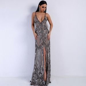 Sexy Grey See-through Summer Evening Dresses  2020 Sheath / Fit Deep V-Neck Spaghetti Straps Sleeveless Appliques Sequins Split Front Sweep Train Backless Formal Dresses
