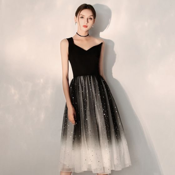 Modern / Fashion Black Gradient-Color Homecoming Graduation Dresses 2019 A-Line / Princess One-Shoulder Sleeveless Glitter Tulle Tea-length Ruffle Backless Formal Dresses