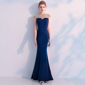 Elegant Navy Blue Evening Dresses  2019 Trumpet / Mermaid Scoop Neck Sleeveless Handmade  Beading Floor-Length / Long Ruffle Backless Formal Dresses