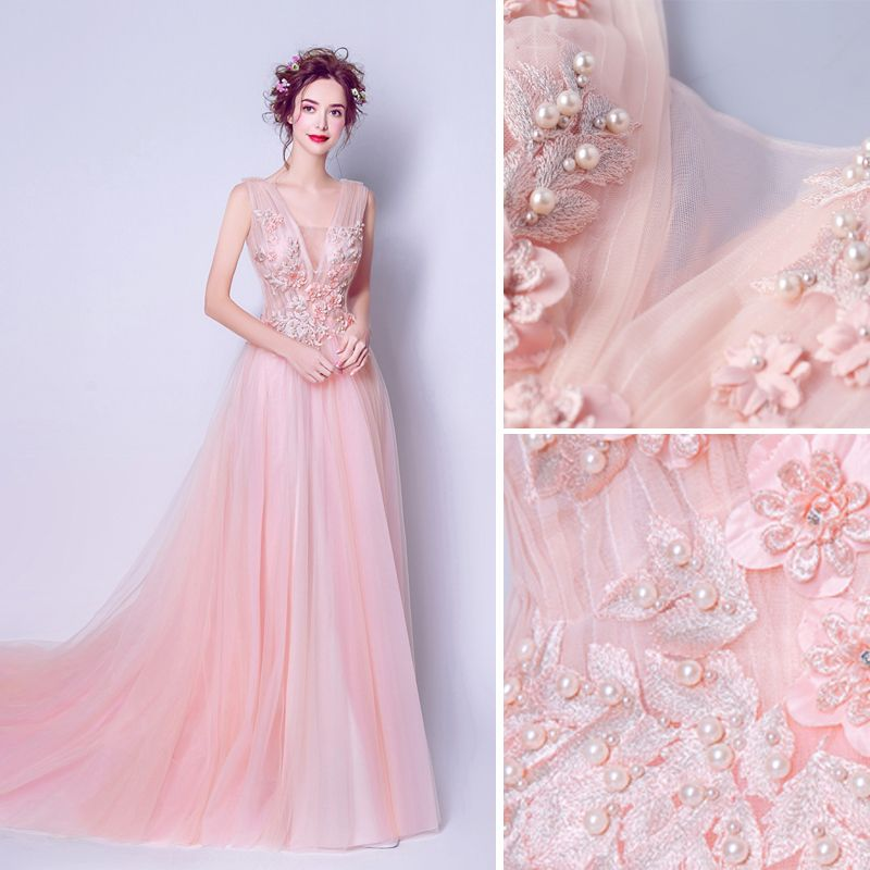 Elegant Pearl Pink Evening Dresses  2019 A-Line / Princess V-Neck Pearl Sequins Appliques Lace Flower Sleeveless Backless Chapel Train Formal Dresses
