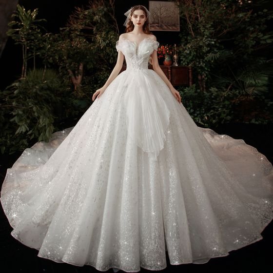 Chic / Beautiful White Bridal Wedding Dresses 2020 Ball Gown Off-The-Shoulder Short Sleeve Backless Glitter Tulle Cathedral Train Ruffle