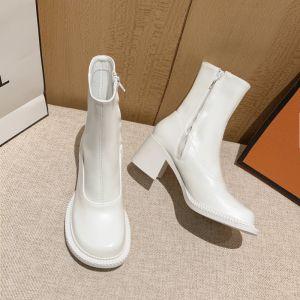 Eenvoudige Witte Straatkleding Enkellaarsjes / Enkellaarzen Dames Laarzen 2021 6 cm Dikke Hak Spitse Neus Laarzen