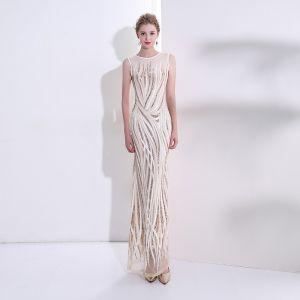 Seksowne Szampan Sukienki Wieczorowe 2018 Syrena / Rozkloszowane Cekiny Wycięciem Bez Rękawów Długie Sukienki Wizytowe