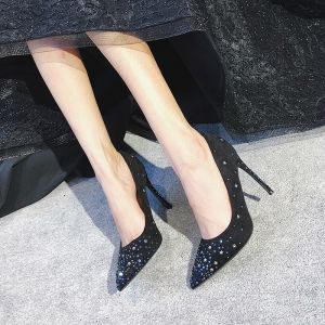 Chic / Beautiful Black Womens Shoes 2018 Leatherette Star Rhinestone 8 cm Stiletto Heels Evening Party Pointed Toe High Heels