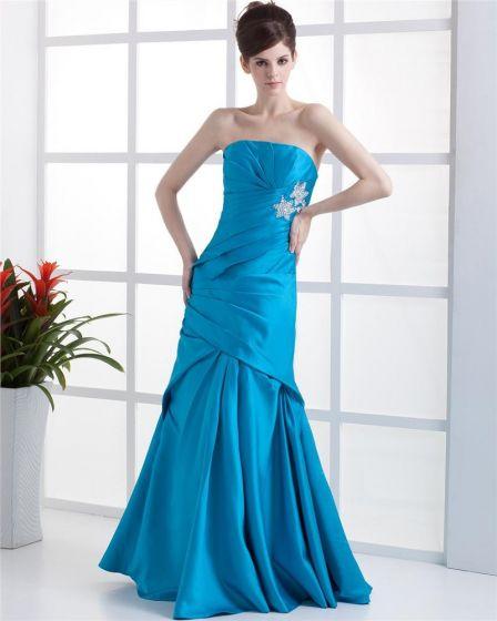 Strapless Rhinestone Ruffle Sleeveless Zipper Floor Length Chiffon Woman Prom Dress