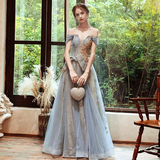 Classy Sky Blue Gold See-through Evening Dresses  2020 A-Line / Princess Off-The-Shoulder Short Sleeve Beading Glitter Tulle Floor-Length / Long Backless Formal Dresses