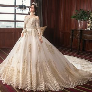 Charming Champagne Wedding Dresses 2020 A-Line / Princess Off-The-Shoulder Beading Sequins Lace Pearl 3/4 Sleeve Backless Cathedral Train