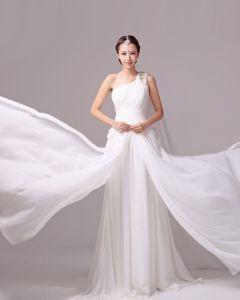 Elegant Feste Rüschen One Shoulder Charmeuse A Linie Hochzeitskleid