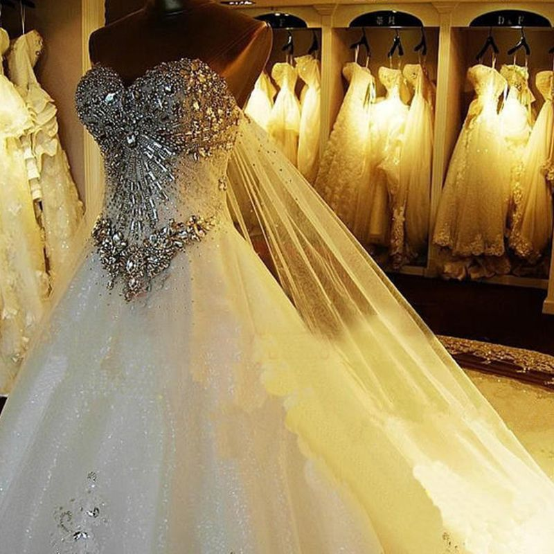 Luxury / Gorgeous White Corset Wedding Dresses 2017 A-Line / Princess Sweetheart Sleeveless Backless Rhinestone Crystal Cathedral Train
