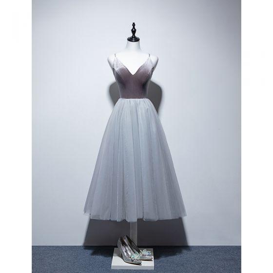 Sexy Grey Evening Dresses  2019 A-Line / Princess Spaghetti Straps Suede Sleeveless Backless Tea-length Formal Dresses