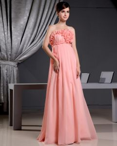 Chiffon Strapless Flower Sleeveless Backless Floor Length Pleated Celebrity Dress