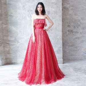 Affordable Red See-through Prom Dresses 2018 A-Line / Princess Scoop Neck Sleeveless Sash Spotted Tulle Floor-Length / Long Ruffle Formal Dresses